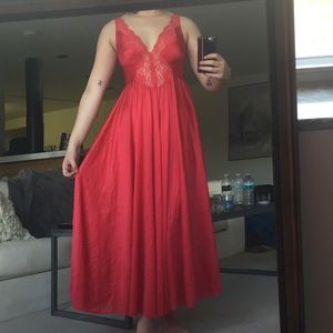 VINTAGE 70s Red Silk Lace Nightgown
